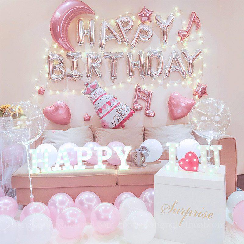 Trang trí sinh nhật sắc hồng dễ thương