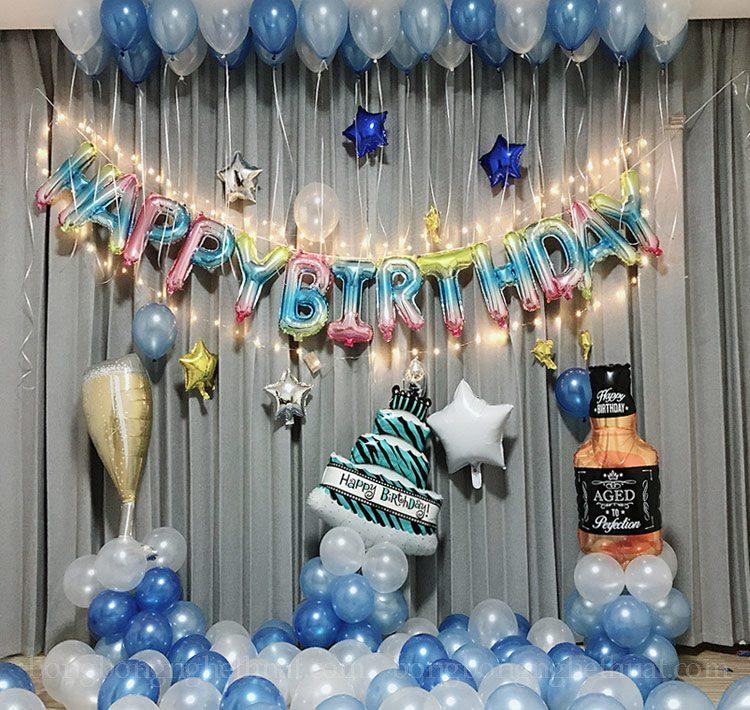Trang trí sinh nhật sắc màu bong bóng