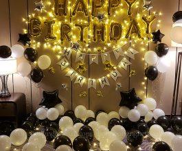 Trang trí sinh nhật tông màu trắng đen