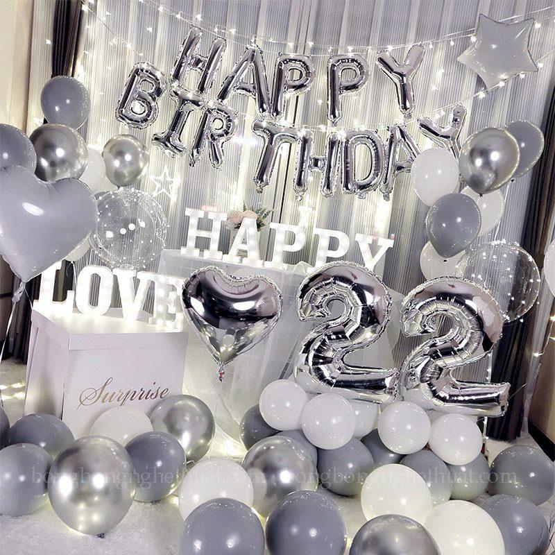 Trang trí sinh nhật tuổi 22 màu bạc xám
