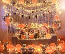 Trang trí sinh nhật tuổi 23 màu hồng bạc