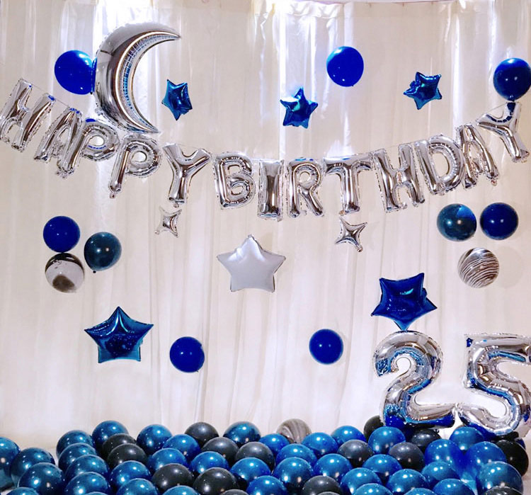Trang trí sinh nhật 25 tuổi tông màu xanh bạc