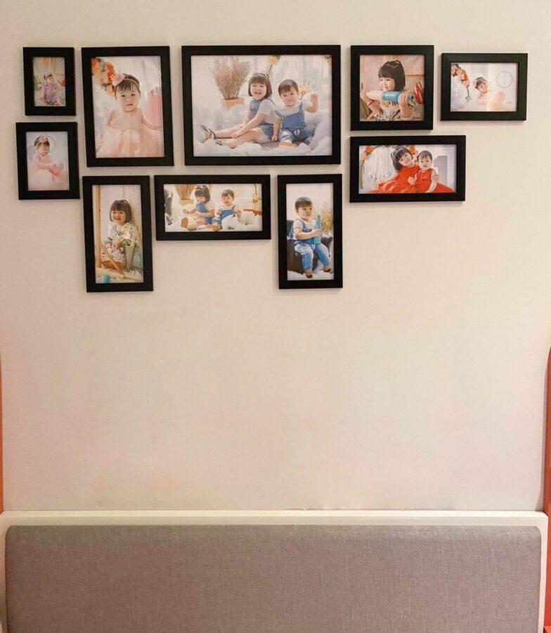 Trang trí set khung ảnh trong phòng ngủ