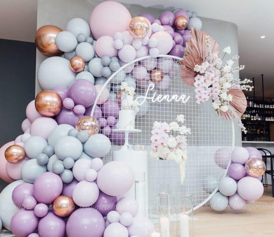 Trang trí backdrop bong bóng lưới