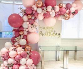 Trang trí bong bóng tông màu hồng