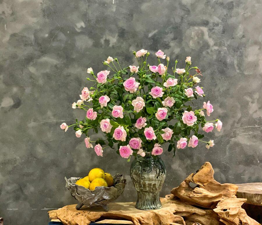 Hồng rất hợp dáng bình như chiếc ly. Hoa và bình cộng hưởng rất sang