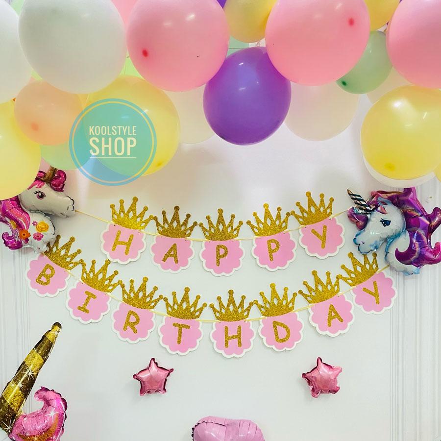 Dây banner Happy Birthday cho sinh nhật bé gái