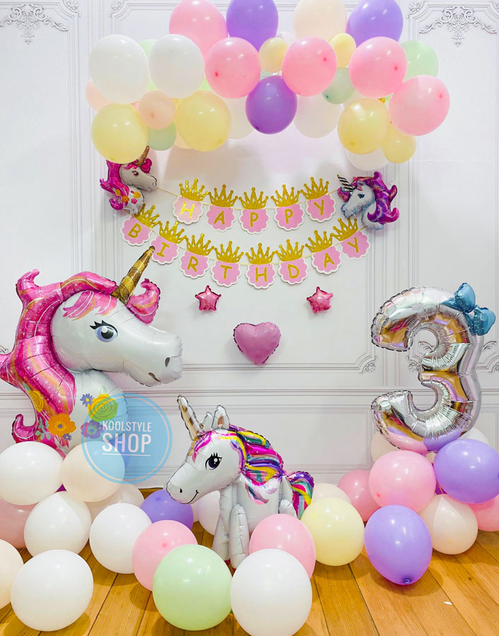 Set bong bóng sinh nhật Unicorn dễ thương cho bé gái