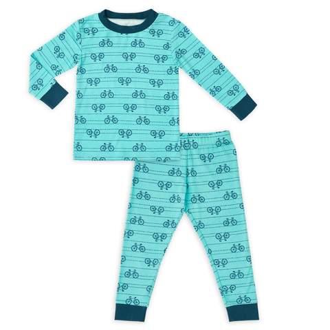 Bộ đồ ngủ dành cho trẻ mới biết đi in hình xe đạp Teal của Larkwear