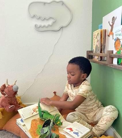 Cậu bé mới biết đi ngồi trong góc phòng ngủ đọc lướt qua những cuốn sách.
